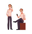 man talking by mobile phone standing using vector image vector image
