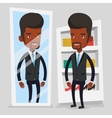 Man trying on clothes in dressing room vector image vector image