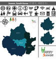 map of suwon with districts vector image vector image