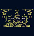 merry christmas banner outline style vector image vector image