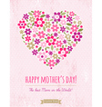Mothers Day card with heart of spring flowers vector image vector image