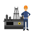 oilman character in a blue uniform standing next vector image