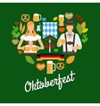 Oktoberfest flat elements vector image