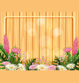 pink and white flowers on wooden frame vector image vector image