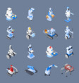 robot professions icon set vector image vector image