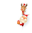 santa claus and reindeer on right side board vector image vector image