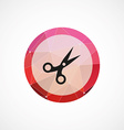scissors circle pink triangle background icon vector image vector image