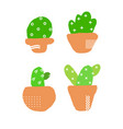 set cute cactuses isolated on white background vector image
