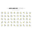 set line icons aids and hiv vector image
