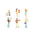 shopping people set smiling young women and men vector image vector image