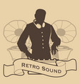 silhouette of dj retro style with headphones and vector image