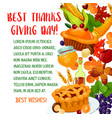 thanksgiving day poster with autumn harvest symbol vector image vector image