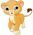 walking lion cub vector image vector image