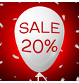 White Baloon with text Sale 20 percent Discounts vector image vector image