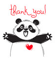 with joyful panda who says - thank vector image vector image