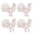 Creative stylized rooster set vector image