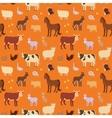 Seamless pattern with cartoon farm animals vector image