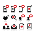 Love Valentines Day icons set vector image