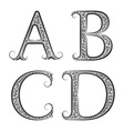 A B C D vintage patterned letters Font in floral vector image