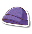 a sticker template with purple beanie hat