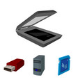 a system unit a flash drive a scanner and a sd vector image