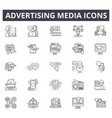 advertising media line icons editable stroke vector image vector image
