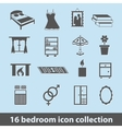bedroom icons vector image vector image