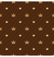 Beige crowns icons on brown background with strips vector image vector image
