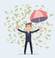businessman dances under money rain vector image