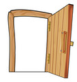 cartoon curve open wooden door on a white vector image