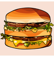 cartoon double big hamburger vector image