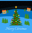 christmas tree with multi-colored toys and garland vector image vector image