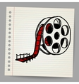 Cinema film roll and red carpet vector image