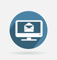 Circle blue icon monitor letter envelope vector image