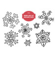 collection hand drawn snowflakes vector image
