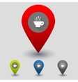 Colorful navigation signs with cup vector image