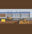 construction site with bulldozer and roller vector image