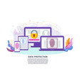 data protection on devices flat concept vector image