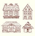 different style hand drawn houses set vector image vector image
