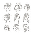 elegant female faces collections one line drawing