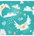 enevelope flying hearts dandelion clouds raindrops vector image vector image