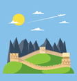 Flat design great wall of China vector image
