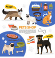 Flat pet shop icons composition