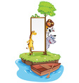 Frame template with wild animals on island vector image