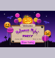 halloween night party invitation board vector image vector image