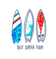 hand drawing surfboard vector image