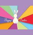 happy easter greeting card with funny rabbit bunny vector image vector image