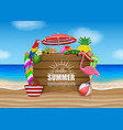 hello summer poster with beach elements vector image vector image