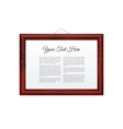 Horizontal Dark Wooden Frame Isolated on White vector image