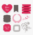 lovely set of wedding design elements vector image